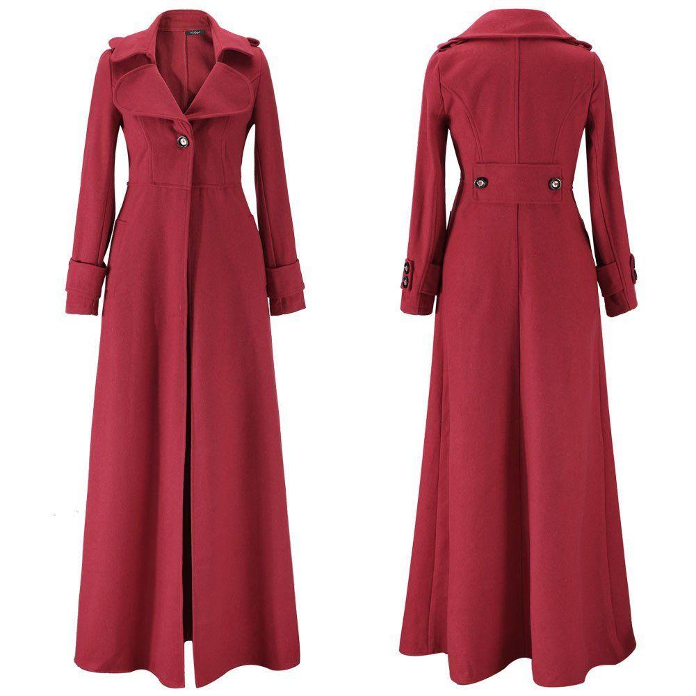 Turn Down Collar Woolen Slim Full Length Coat Coats For Women Full Length Coat Outerwear Women