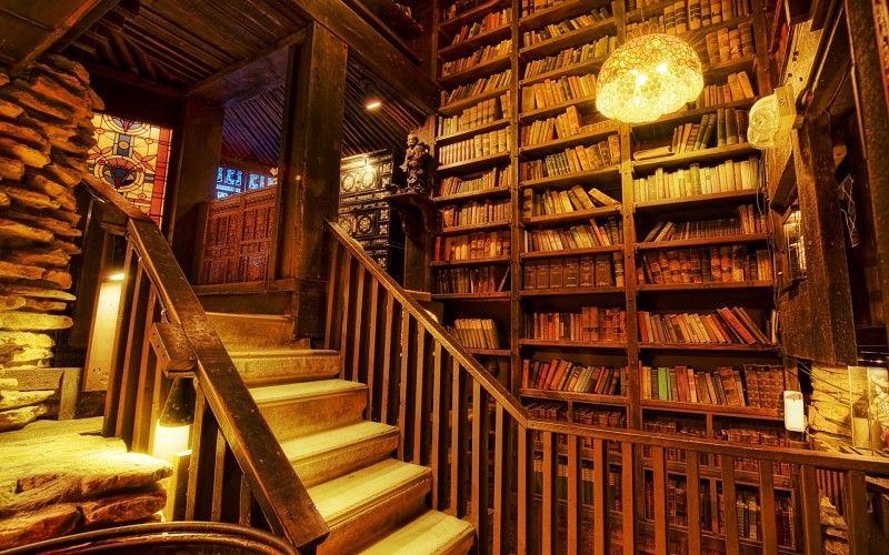 madera biblioteca mundial habitacin cabina retro libros resort hdr edificios de piedra escaleras rsticas lmparas