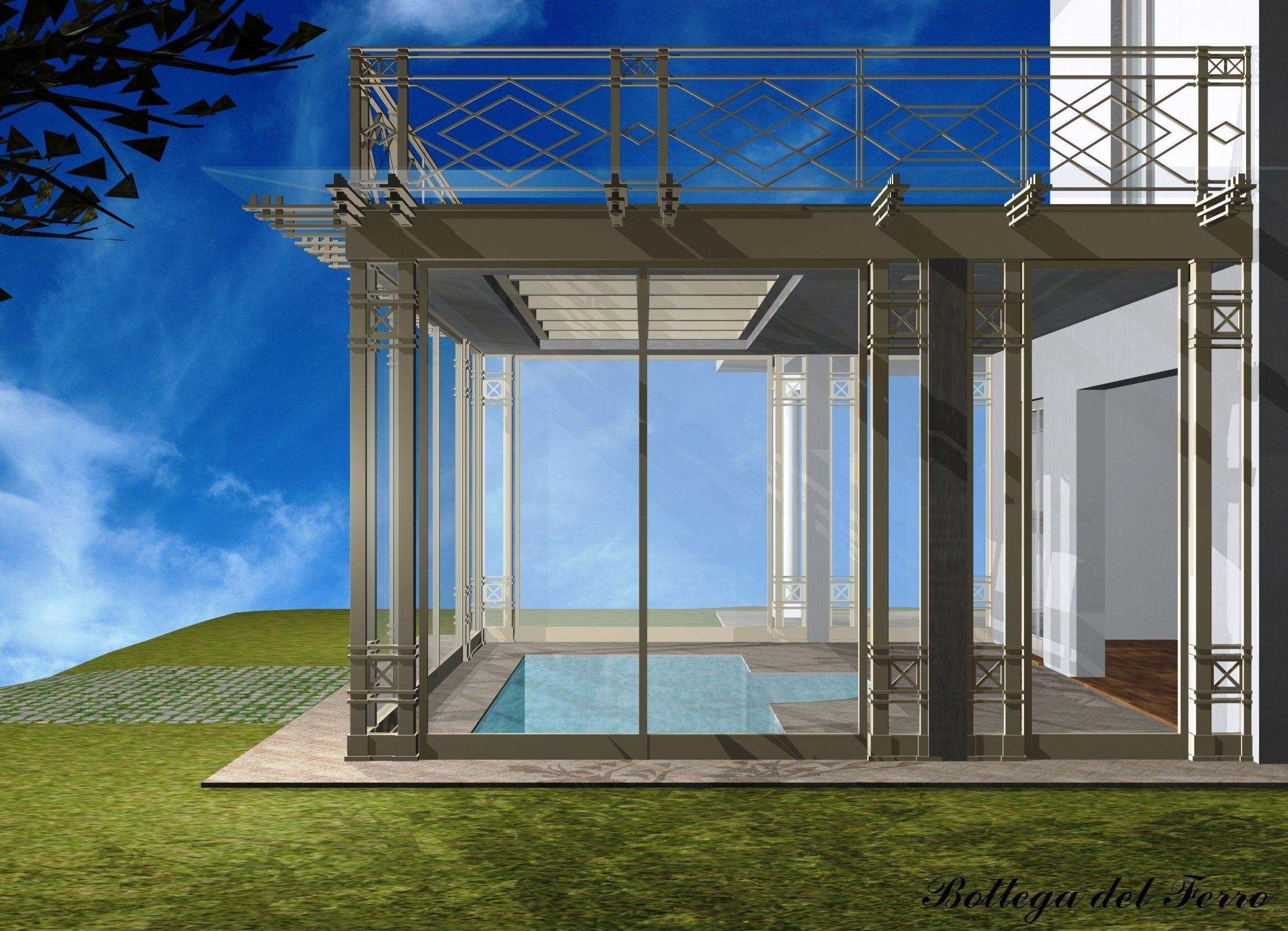 Rendering di un porticato in ferro e vetro per copertura piscina ...