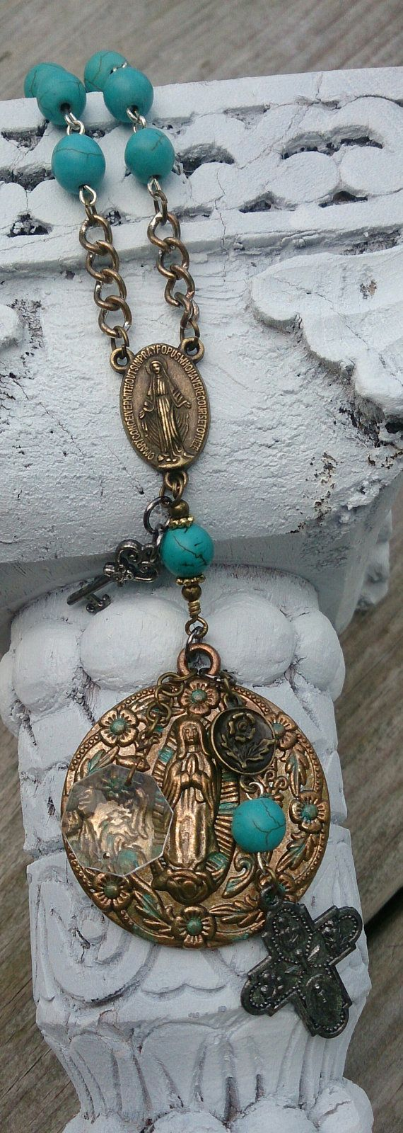 Lady Of Guadalupe Cross Necklace, Religious Necklace, Christian Jewelry, Mother Mary, Assemblage Necklace #rosaryjewelry Turquoise Rosary Cross Religious Necklace by SecretStashBoutique, $46.00 #rosaryjewelry