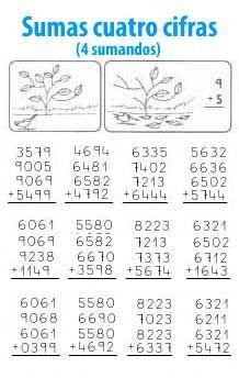Suma de 4 cifras y 4 sumandos | mat dic | Pinterest | Sumo ...