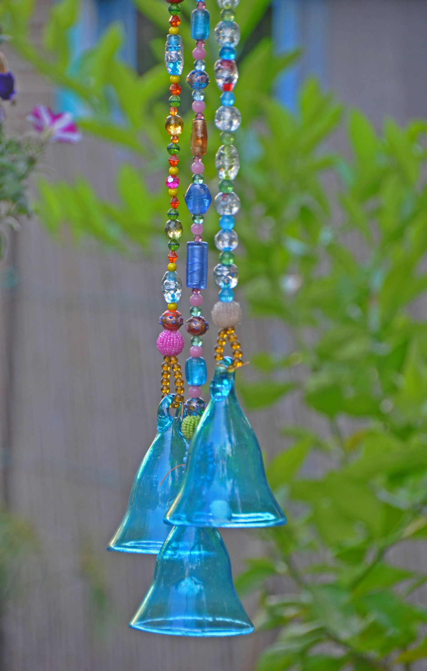 Turquoise glass bells, Garden decoration, Boho ethnic decor, Beaded ...