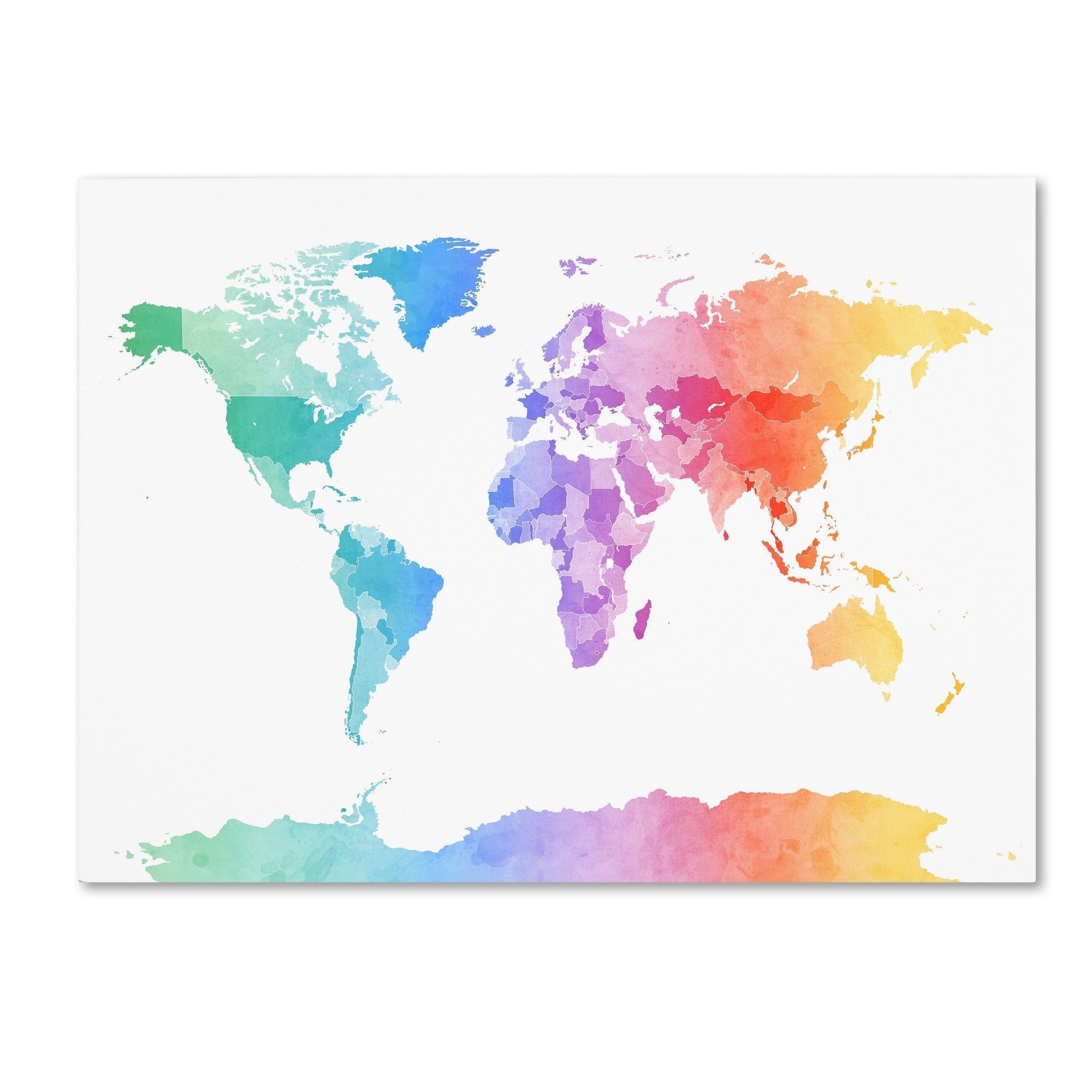 Map Of The World With Watercolor Texture Raster Illustration Stock ...