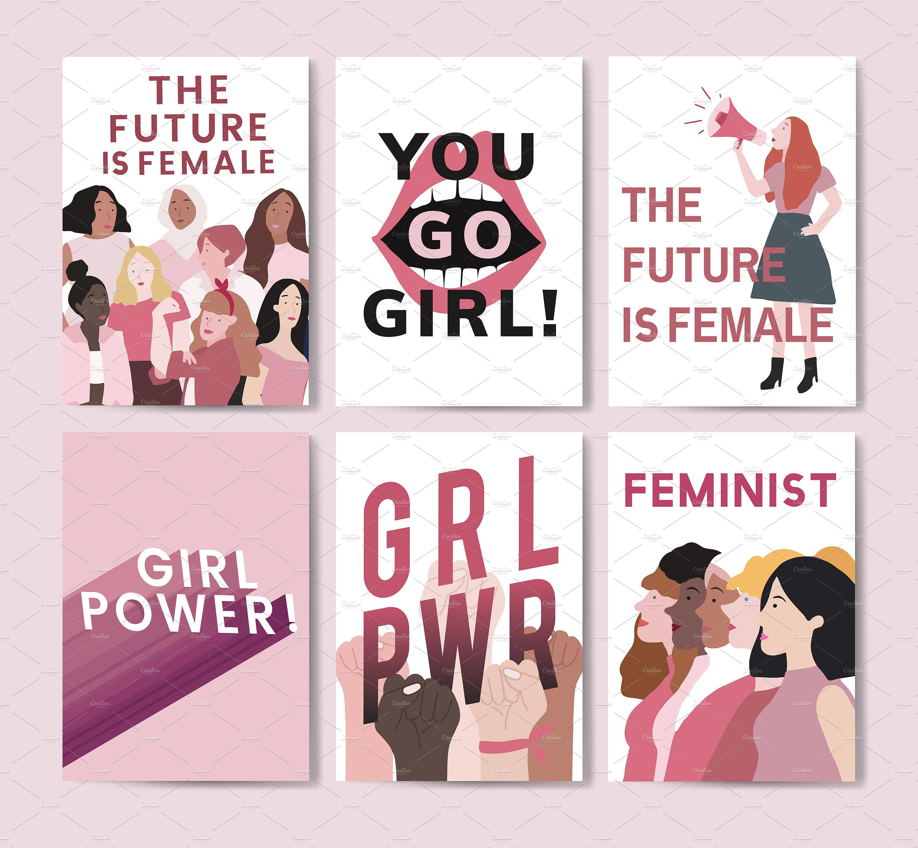 Collection Of Feminist Posters Vector Free Campaign Posters Feminist Design