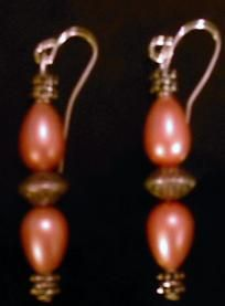 151e-Small peach earrings w/silver gothic spacers*Free Ship*