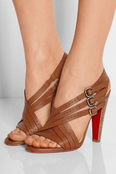 Stacked wooden heel measures approximately 100mm/ 4 inches Brown leather Buckle-fastening ankle straps