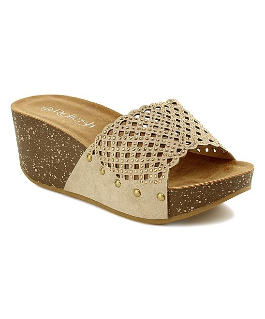 759943b3c80 Taupe Perforated Elva Wedge Sandal | Products | Pinterest | Sandals ...