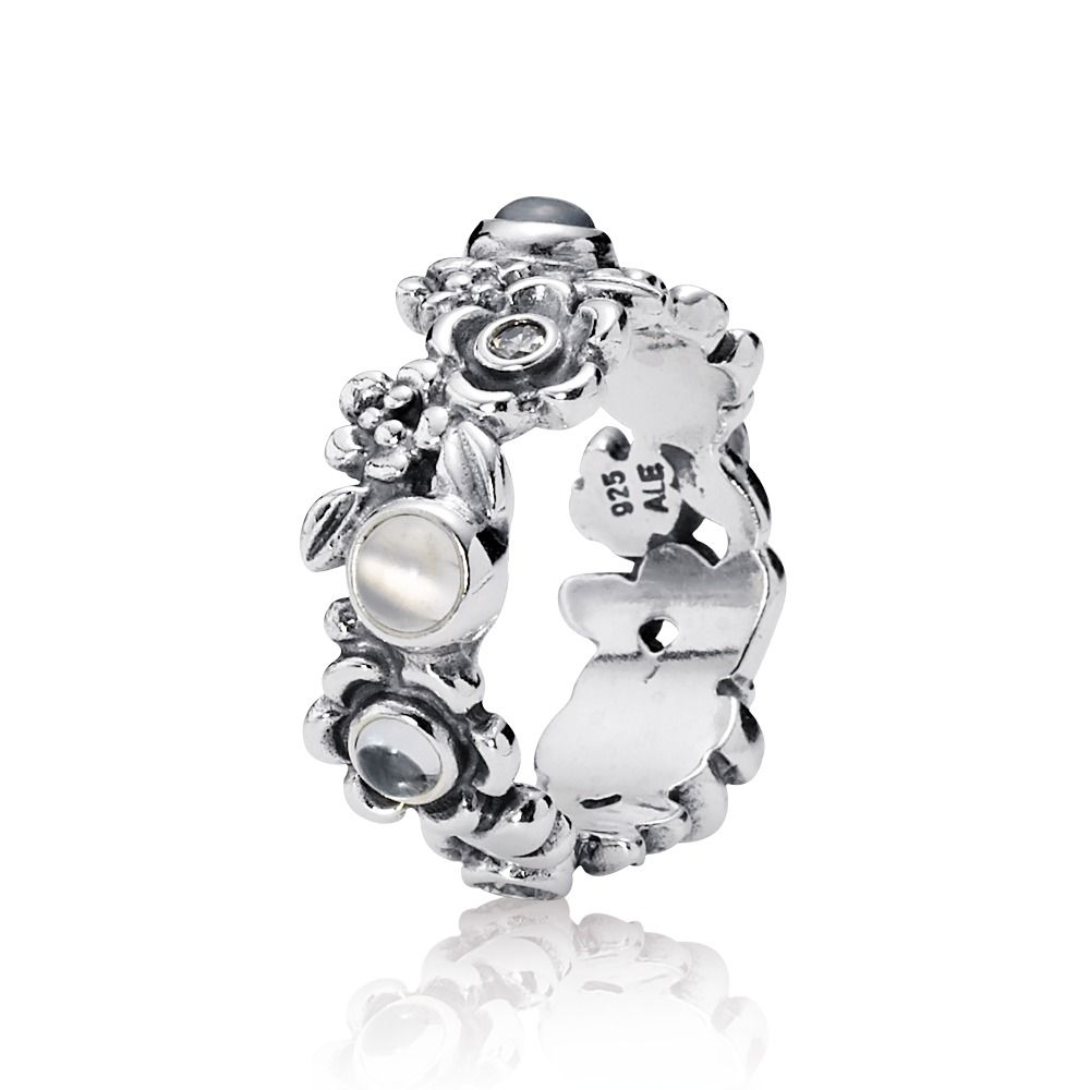Pandora Moonstone Earrings: Nature's Serenity Ring, Blue Topaz & Moonstone