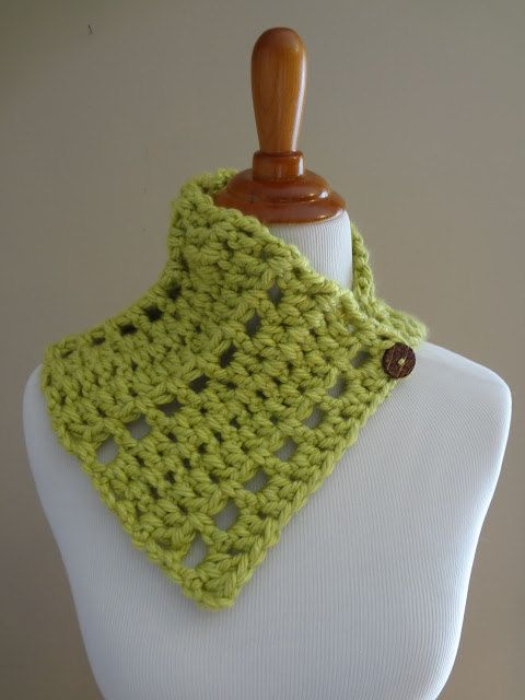 Lime Green Handmade Crochet Cowl with by EnchantedPrimitives, $25.00