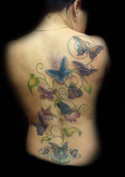 90e61756c pretty Flower Vine Tattoos, Butterfly Tattoos, Flowering Vines, Watercolor  Tattoo, Tatting,