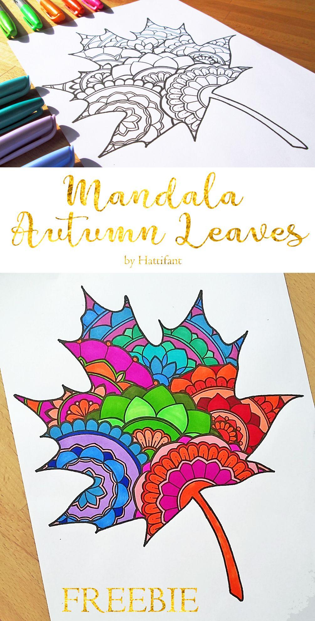 Mandala autumn leaf freebie mandala arte autunnale for Zentangle per bambini