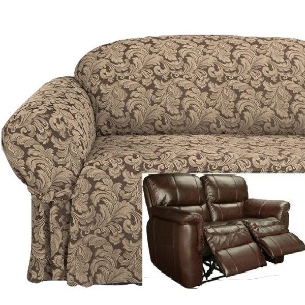 Reclining LOVESEAT Slipcover Damask Chocolate Adapted for Dual Recliner Love seat  sc 1 st  Pinterest & Reclining LOVESEAT Slipcover Damask Chocolate Adapted for Dual ... islam-shia.org
