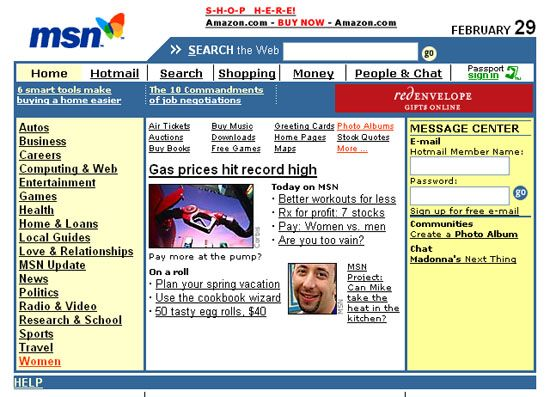 Old MSN web template. Throwback Thursday! | Web Development ...