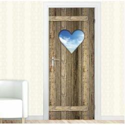 Door sticker heart, wooden door, cloudsWayfair.de