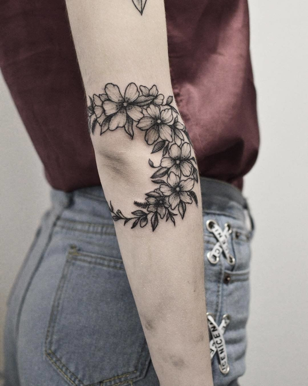 Photo of Floral Crescent Nature Tattoo | This floral swag is a little less romantic and a…