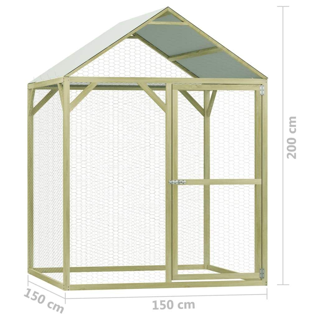 Chicken coop 1,5×1,5×2 m impregnated pinewood