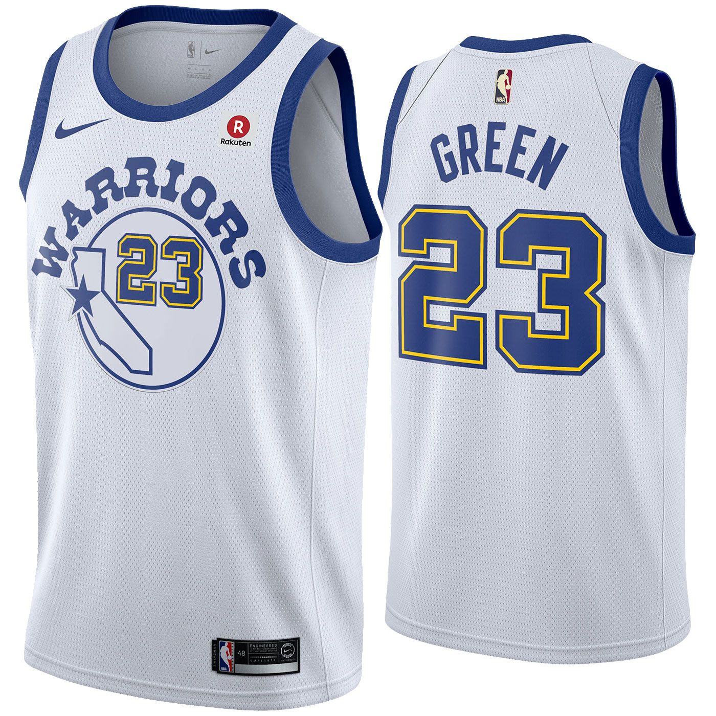4317ab15a36 Golden State Warriors Nike Dri-FIT Men s Draymond Green  23 Swingman  Hardwood Classic Jersey - White