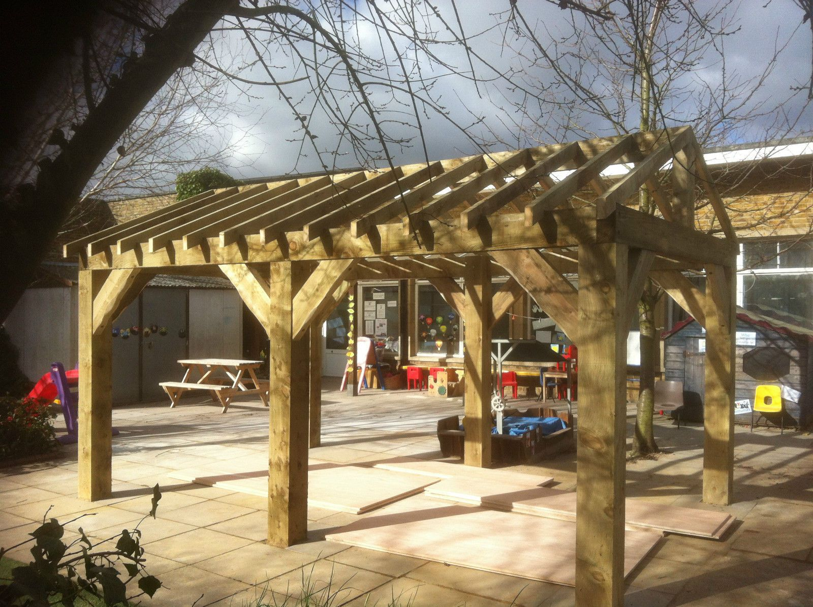 Details about Wooden Garden Shelter, Structure, Gazebo