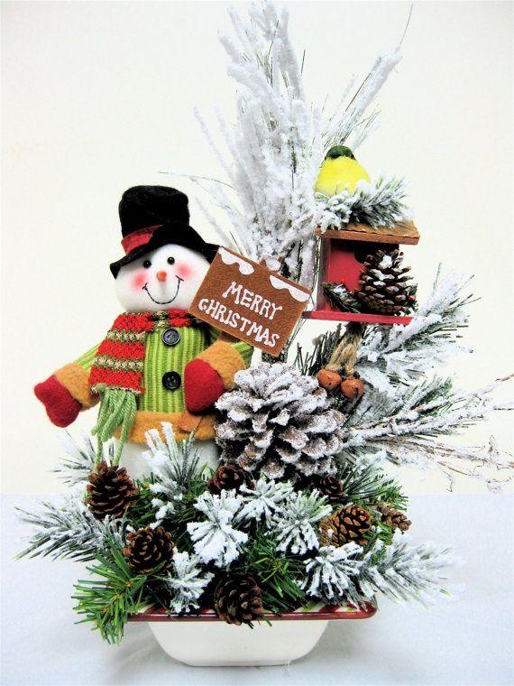 Christmas arrangements centerpieces snowman