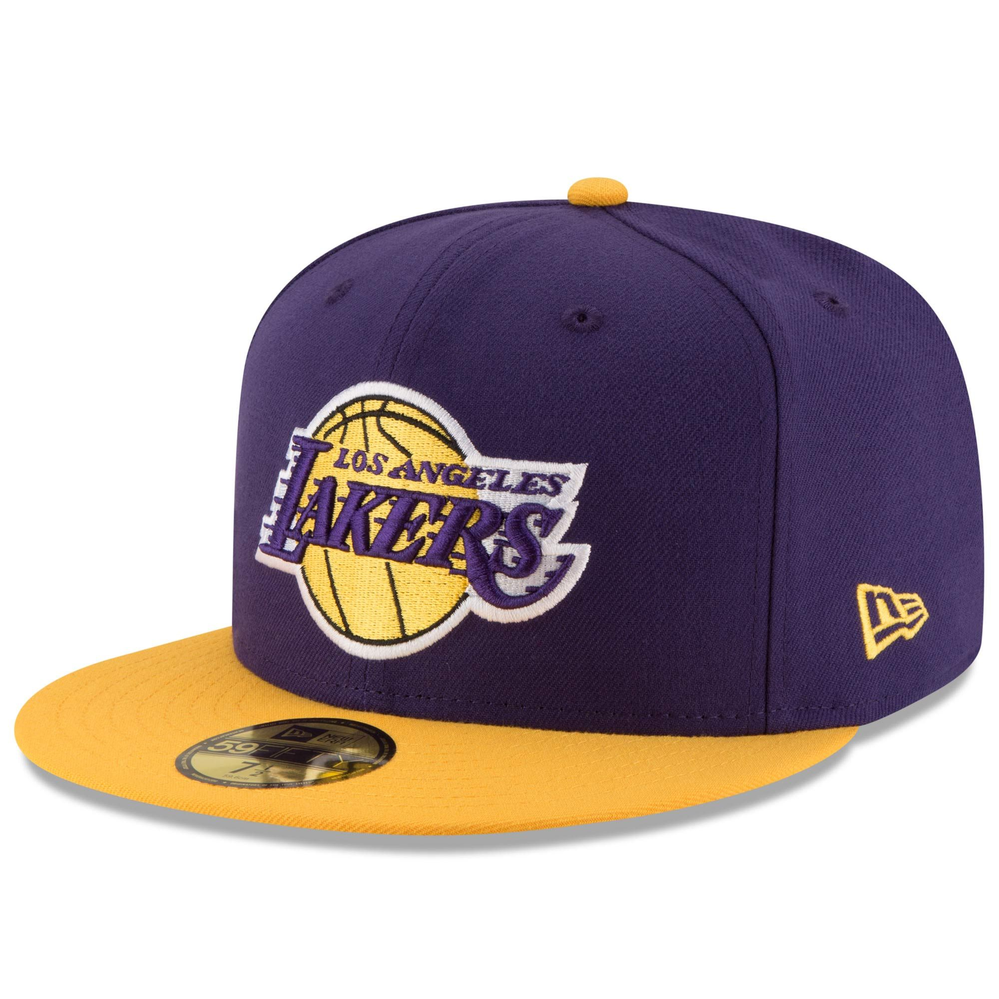 Los Angeles Lakers New Era Official Team Color 2tone 59fifty Fitted Hat Purple Gold In 2020 Los Angeles Lakers Fitted Hats Lakers Hat