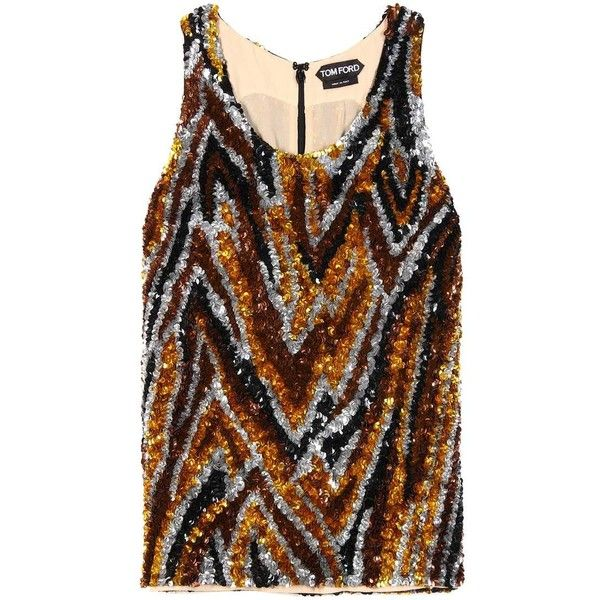 Sequin-embellished top (€3.250) ❤ liked on Polyvore featuring tops, brown vest, sequin top, vest top, sequin vest top and brown tops