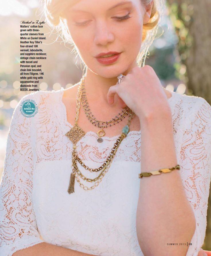 As seen on Charleston Weddings Magazine Summer 2013 Issue. Encore Posey dress. For sale at ECG: Floor Length version in ivory size 10, unworn sample $299 (deep-v back)