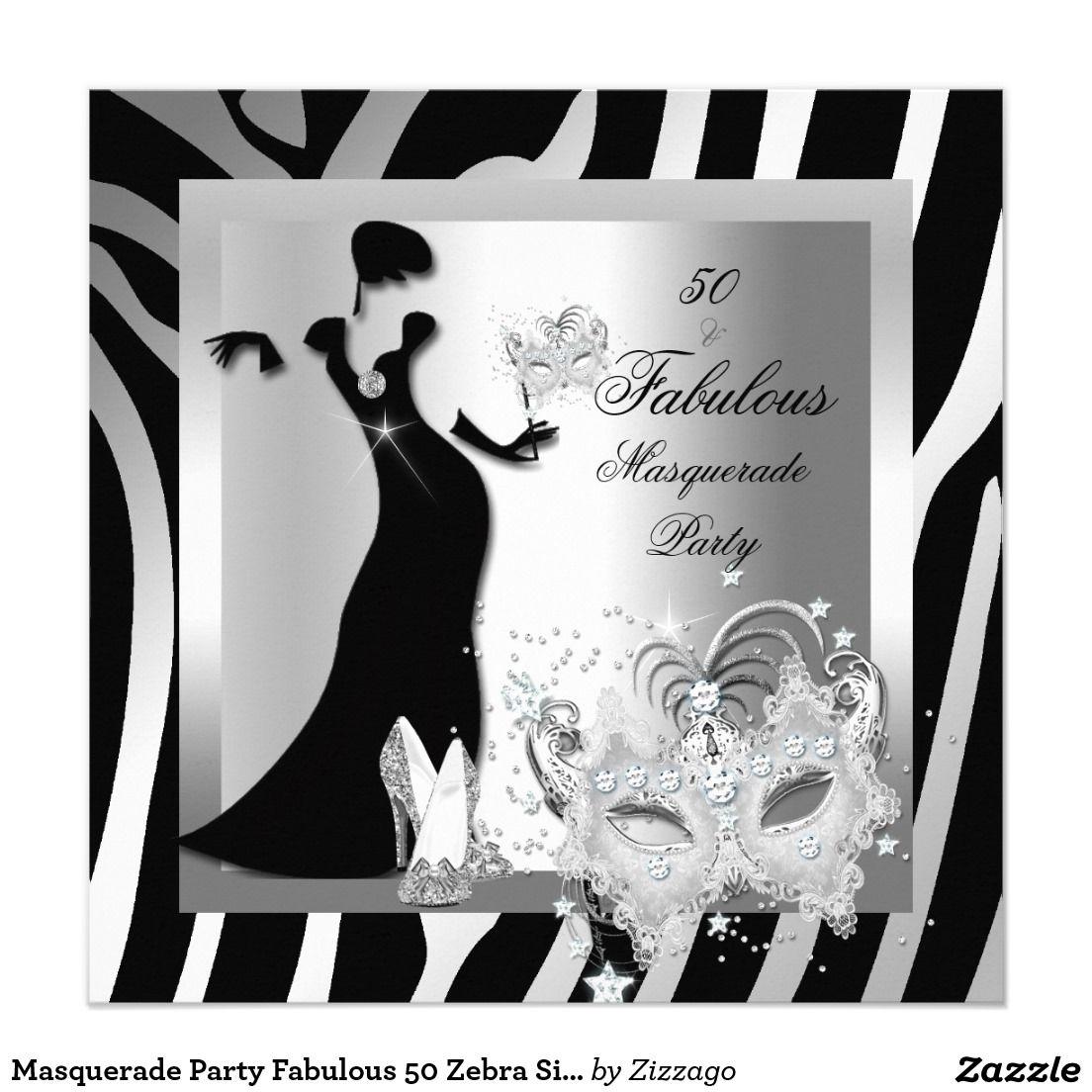 Masquerade Party Fabulous 50 Zebra Silver Invitation | Niecy ...