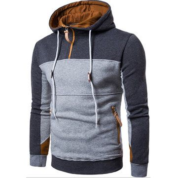 High Quality Mens Casual V-neck Buttons Knitted Hooded Sweater Solid Color  Long Sleeve Pullover