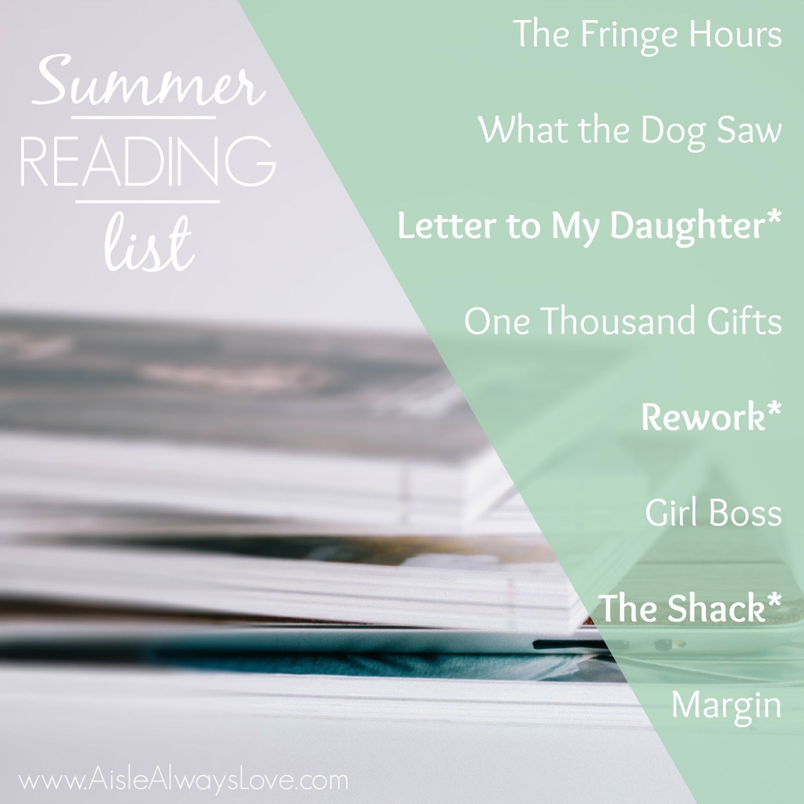 Summer Reading List! Check out these must read books!