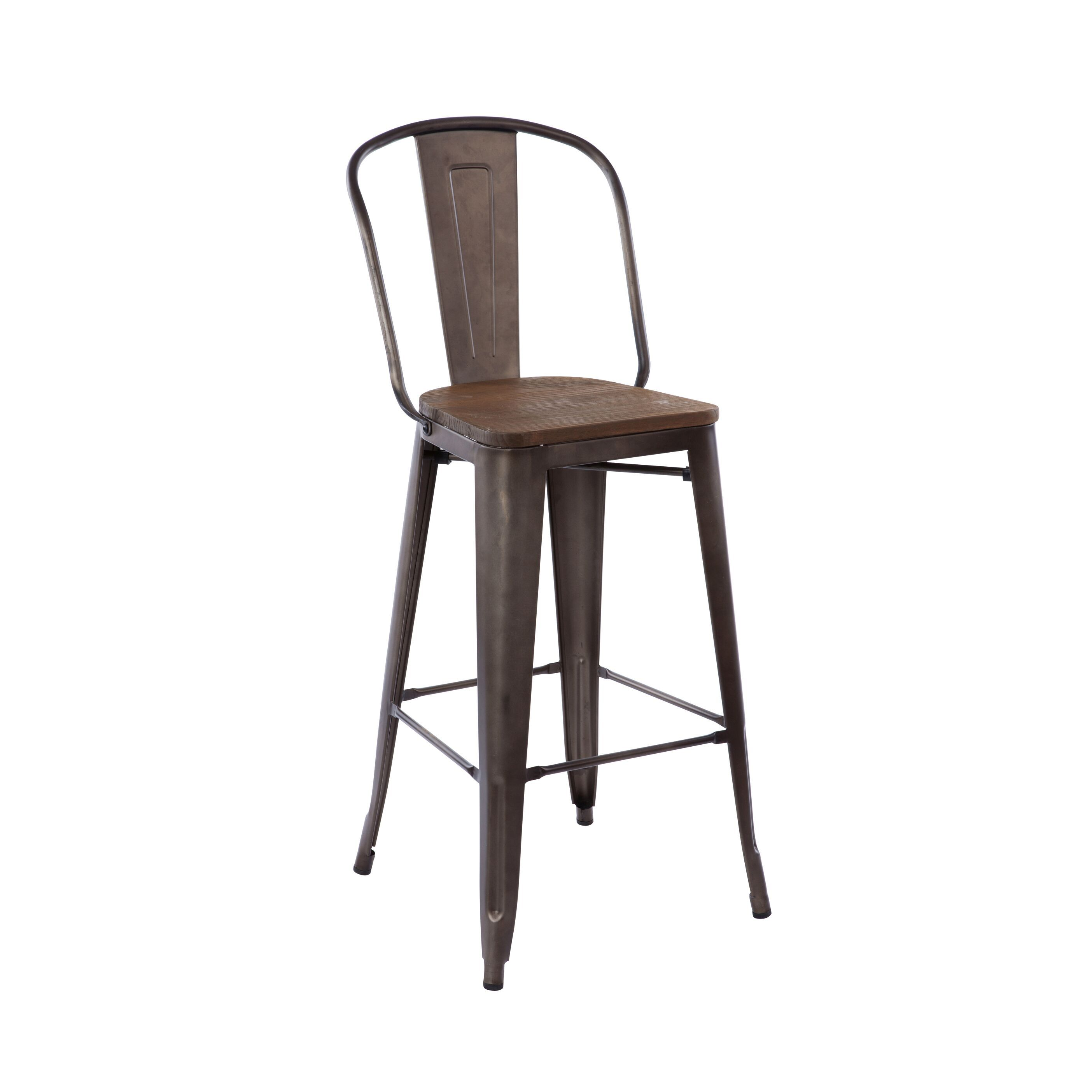 Marvelous Antique Rusty Industrial Tolix High Back Bar Stool Wood Seat Gmtry Best Dining Table And Chair Ideas Images Gmtryco