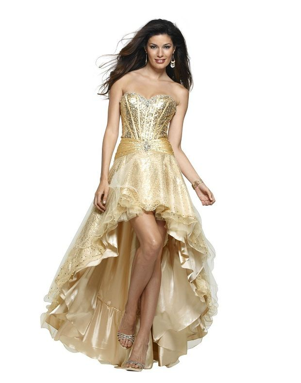 expensive formal dresses | Expensive Jovani gold high low formal ...