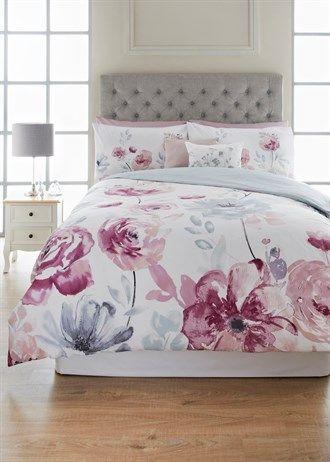 100 Cotton Watercoloured Floral Duvet Cover Soft