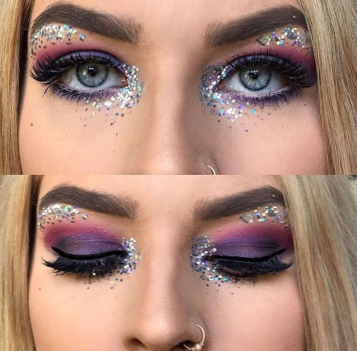 Glitter Makeup hairstyles#colorful