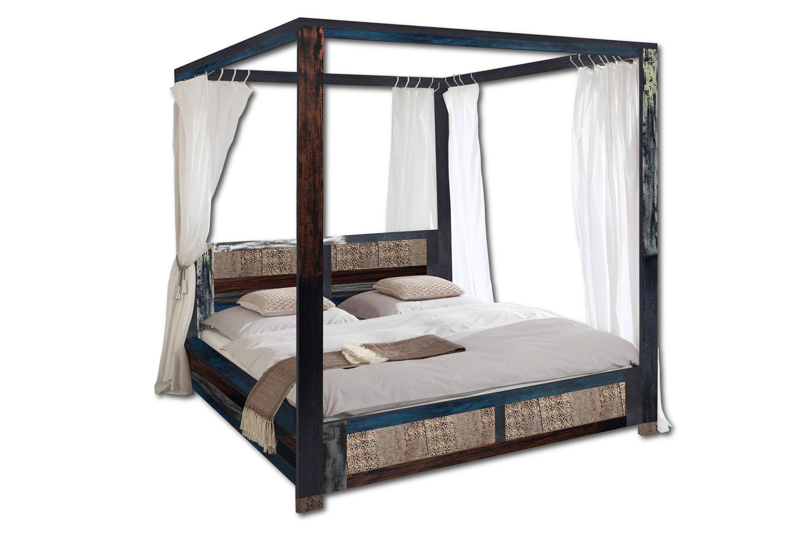 sam vintage himmelbett holzbett metall 160 x 200 cm bunt. Black Bedroom Furniture Sets. Home Design Ideas