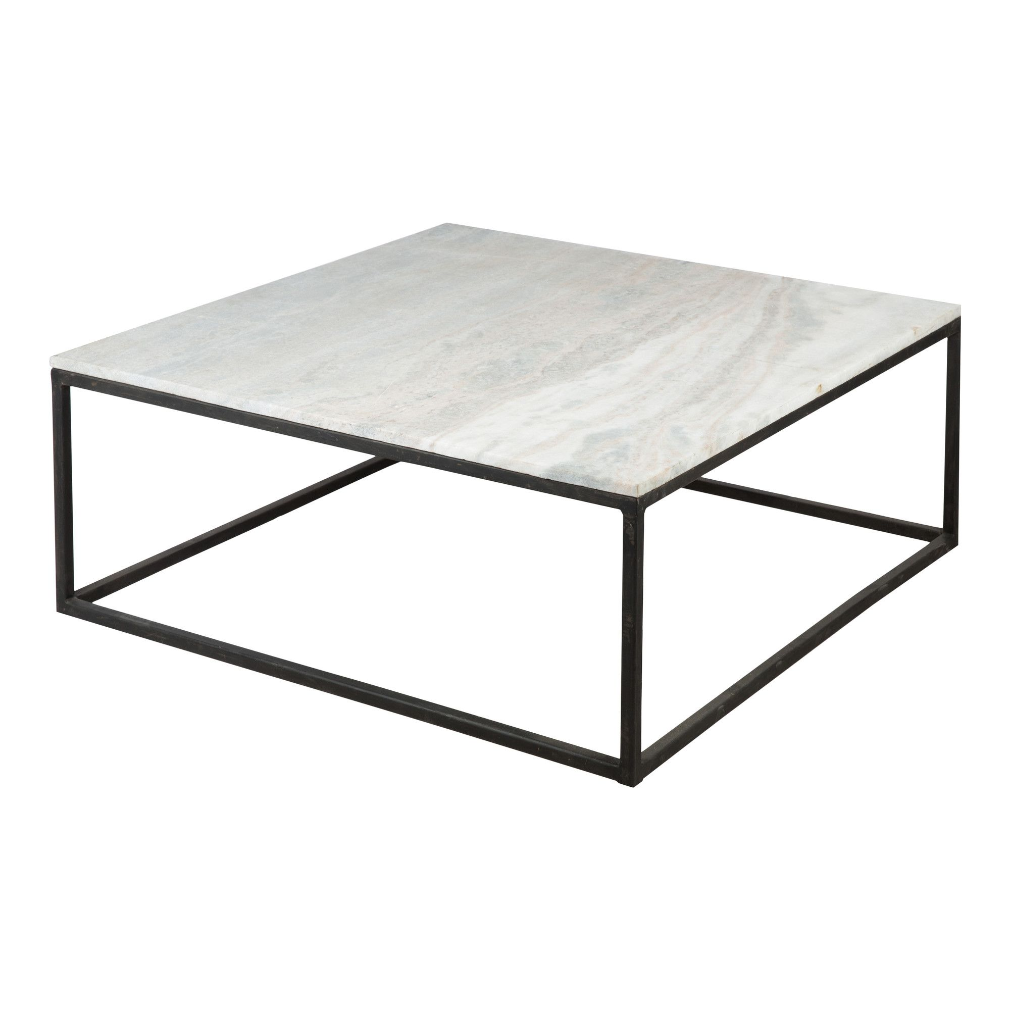 Harvey Stone Square Coffee Table With Black Base Temple