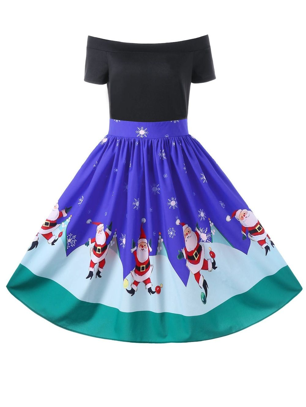 9317f3a005 Christmas Off The Shoulder Swing Dress