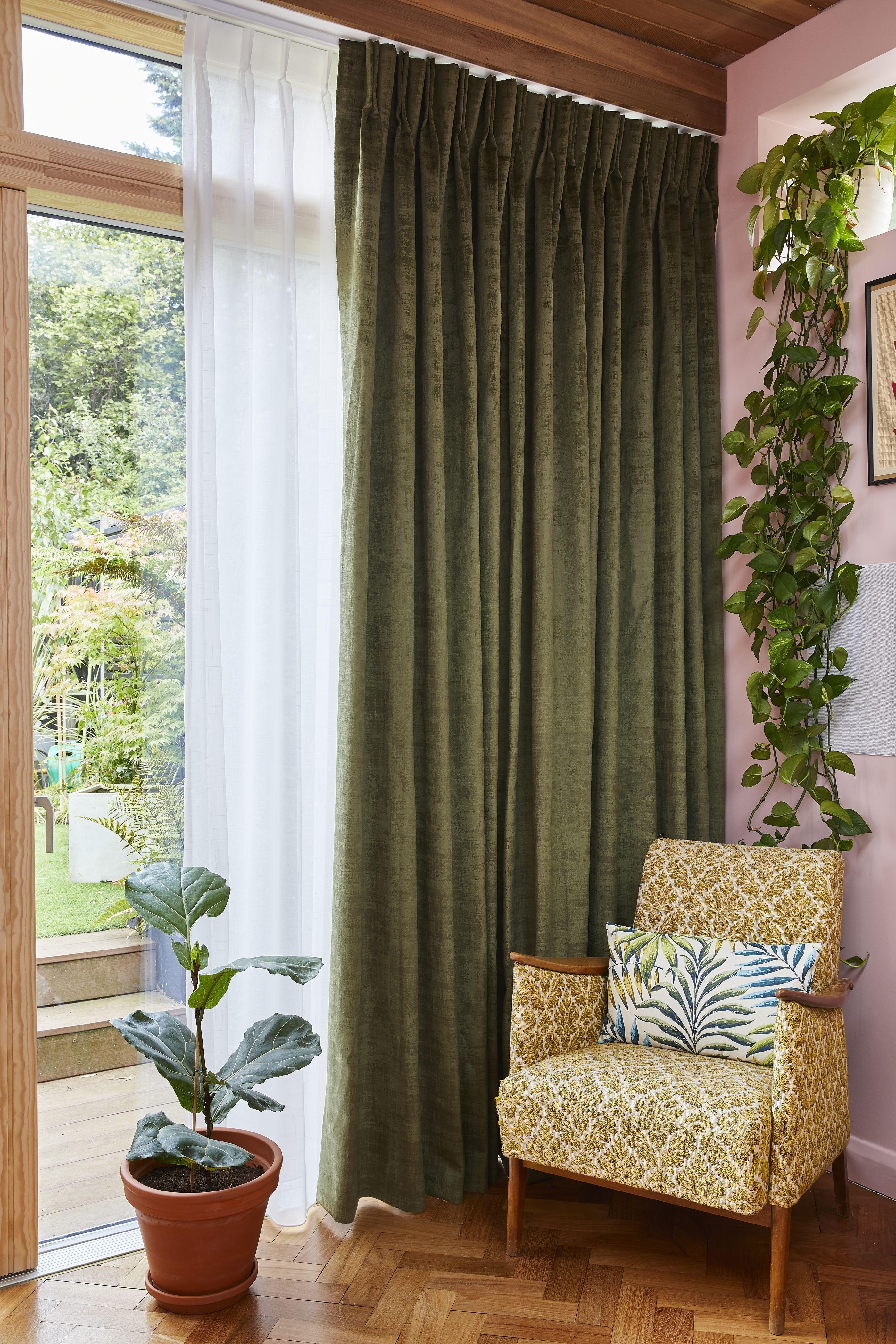 Green Velvet Curtains With White Voiles Green Curtains Living Room Living Room Design Green Curtains Living Room Modern