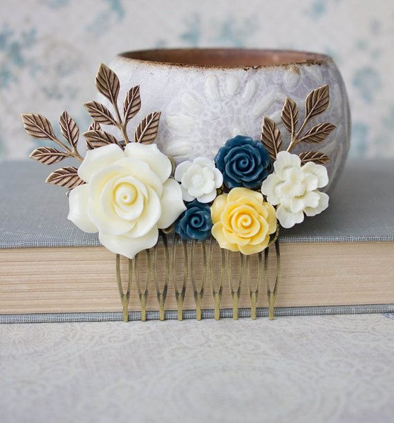 Rose Hair Comb Cream Ivory Rose Comb Wedding by apocketofposies