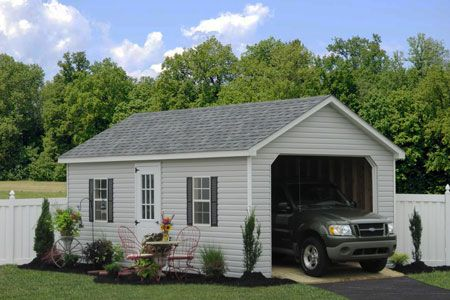 A Vinyl Single Car Garage From The Amish In Pa Lovely And Quick