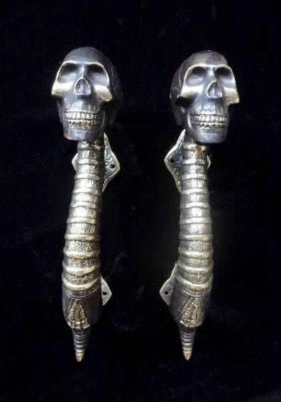 Large Skull Door Handles Bronze Brass Mix Art Home Decoration