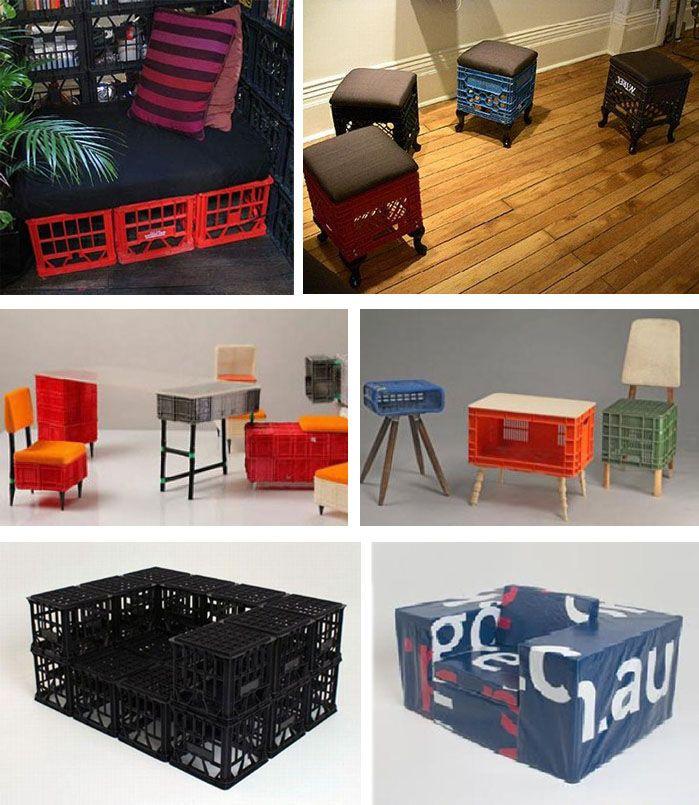 Muebles con cajas de plástico Cajas, Bebida y Cajas de plástico - muebles reciclados