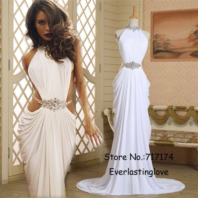 4ec4dd366a32 In Stock Real High Neck Beading Rhinestones Belt Prom Dress Cutout Slit White  Mermaid Formal Evening Dress vestido de festa