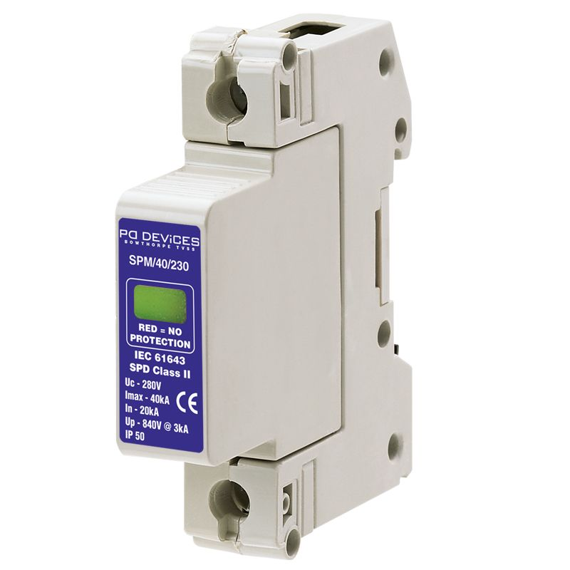 A1SPM/40/230 - 40kA Single Phase Line Module in Base L-N, L-E (w/o Remote Connector) - Type 2 Test Class II - This modular #surgeprotection #device provides #protection of equipment connected to incoming low voltage AC power supplies against the damaging effects of transient over voltages caused by local #lightning strikes, or the switching of electrical inductive or capacitive loads.