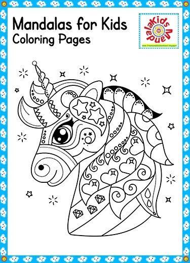 unicorn mandala for kids  free mandala in 2020