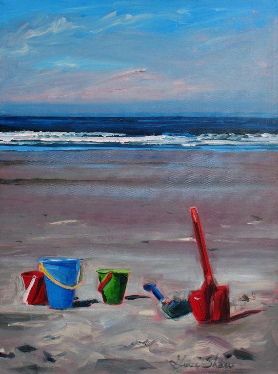 seascape sandy beach original painting where s my castle 16x12