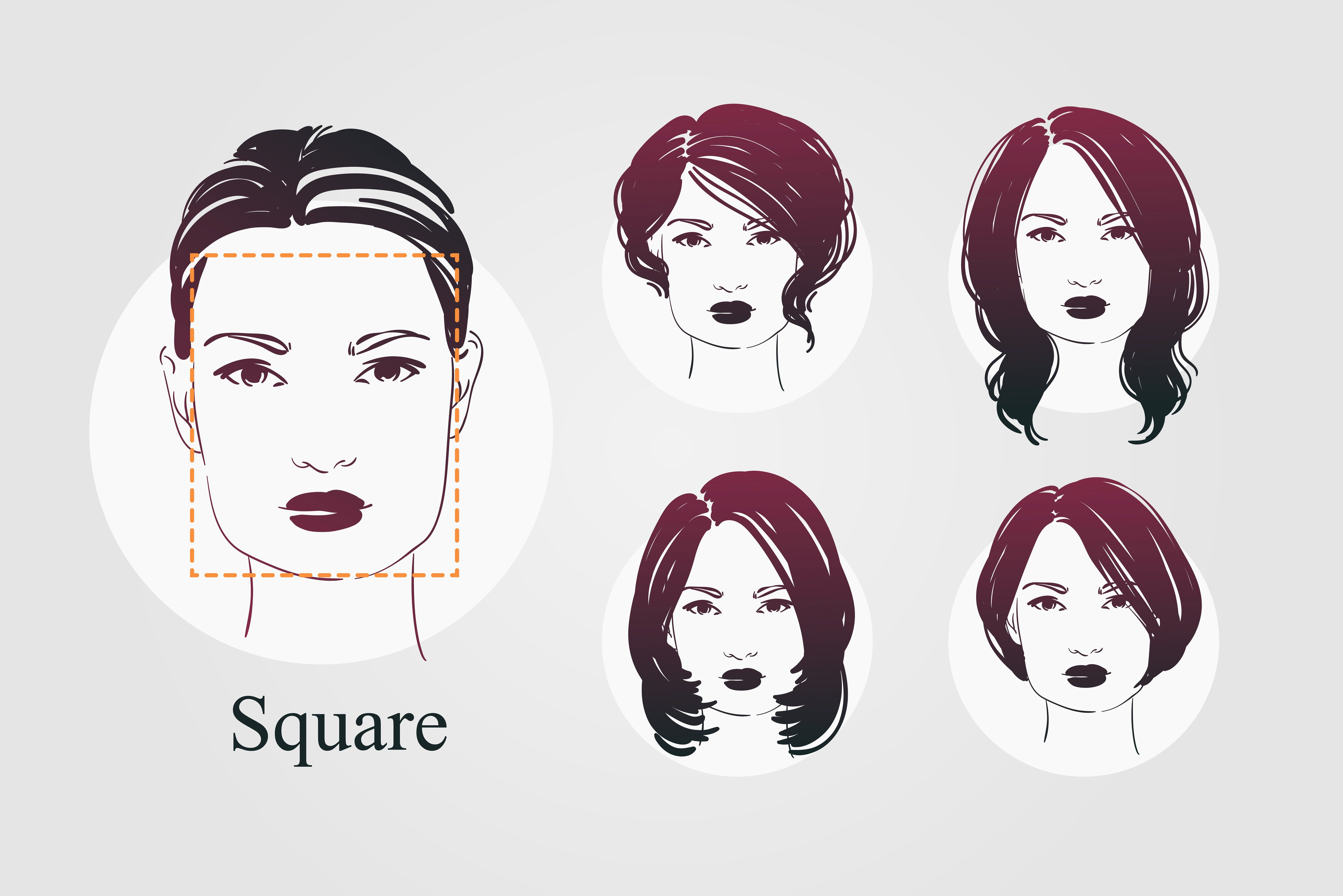 Illustration Types Of Faces Square Face Hairstyles