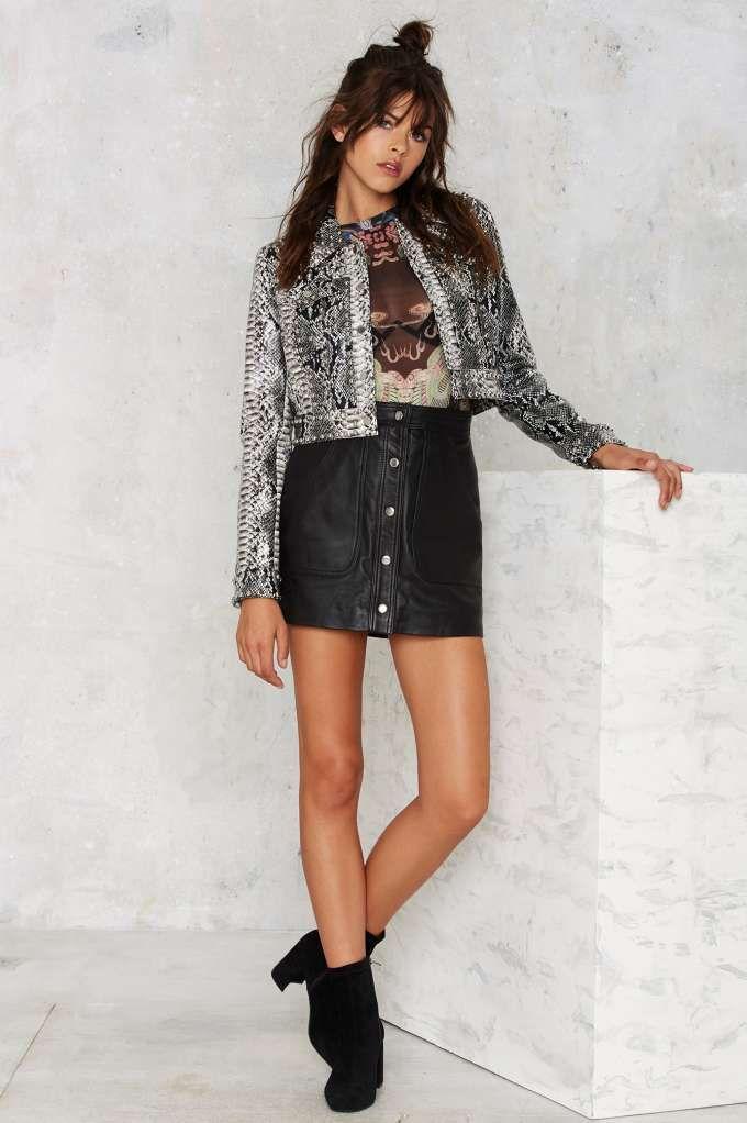 Nasty Gal Python Icon Studded Jacket - Clothes | Lightweight | Jackets + Coats
