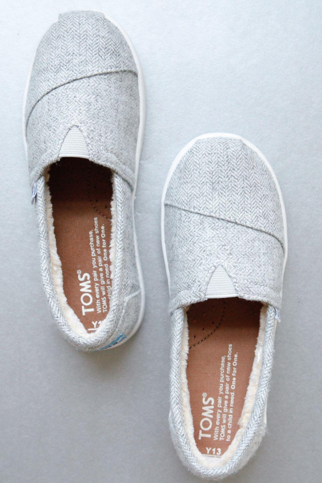 grey herringbone TOMS Slip-Ons for kids