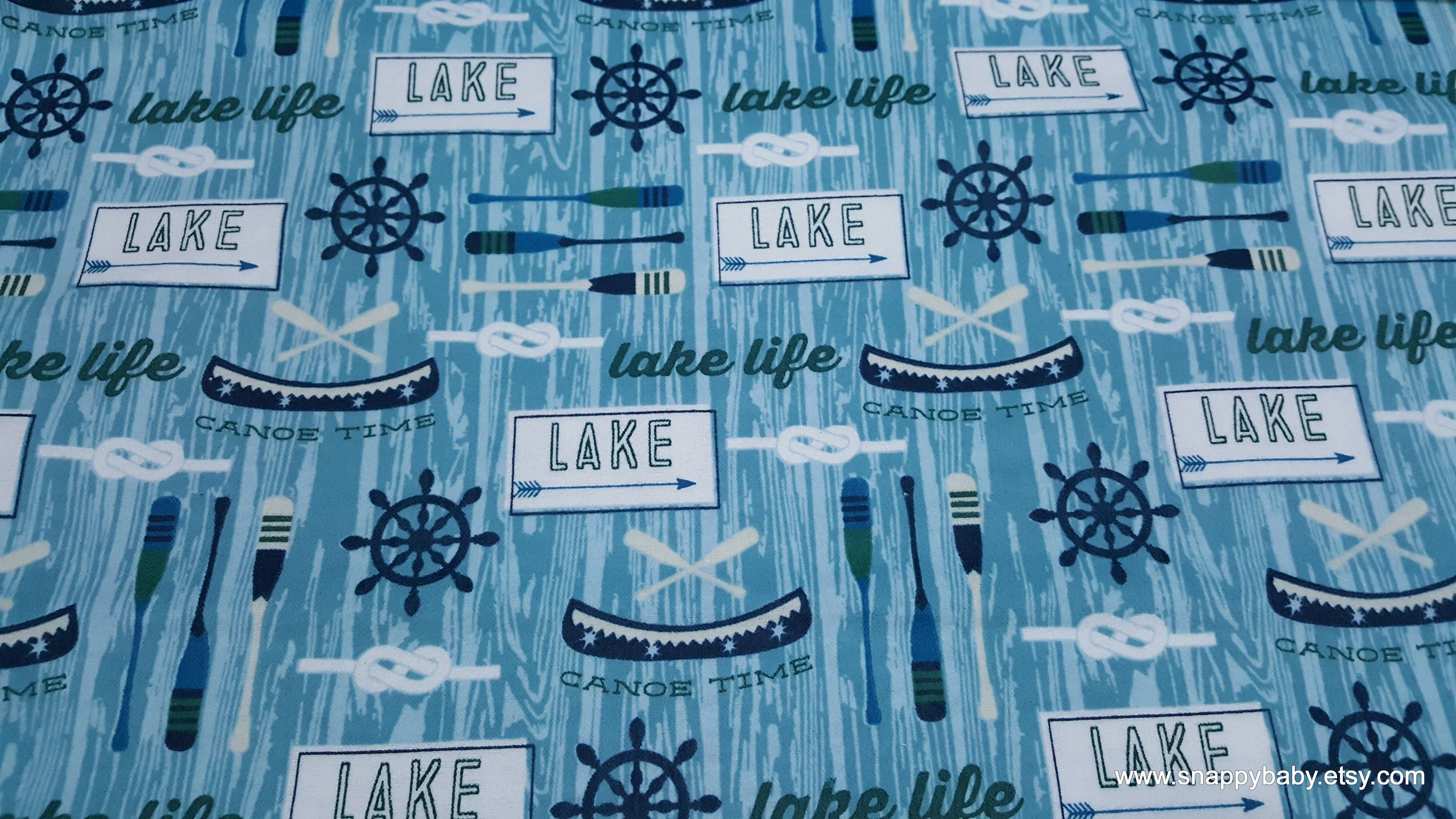 Flannel Fabric Lake Life Blue By The Yard 100 Cotton Flannel Flannel Fabric Lake Life Cotton Flannel