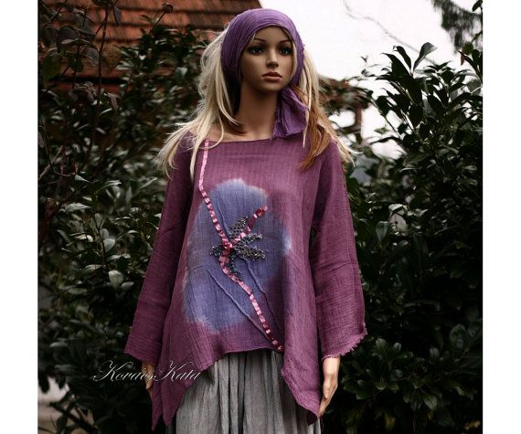 Lagenlook Tunic Blouse Hand Dyed Mauve Gauze by BohemianAngels